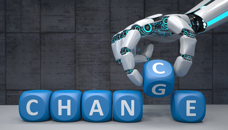 robot i napis zmiana