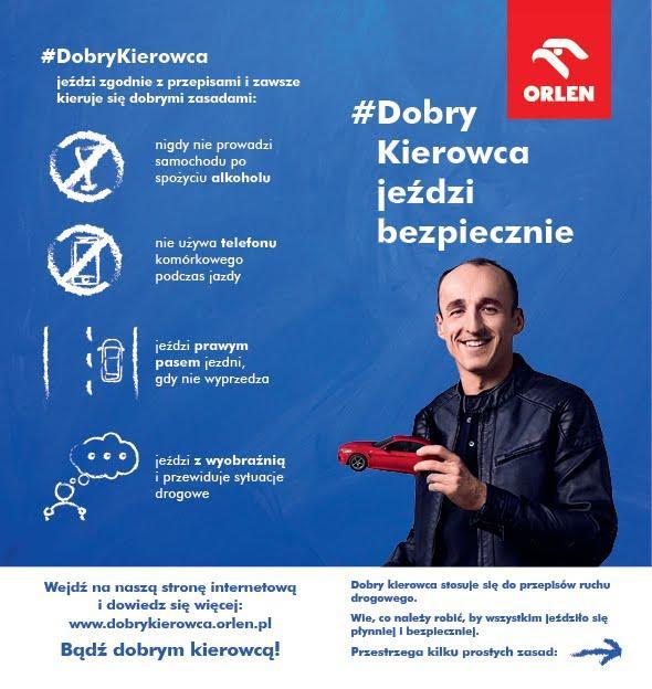 PKN ORLEN dobry kierowca Robert Kubica infografika